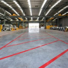Lane Marking Floor Tape - Red used to indicate areas that need precaution.